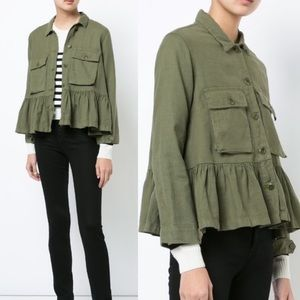 The Great. The Flutter Vintage Army Ruffle Jacket